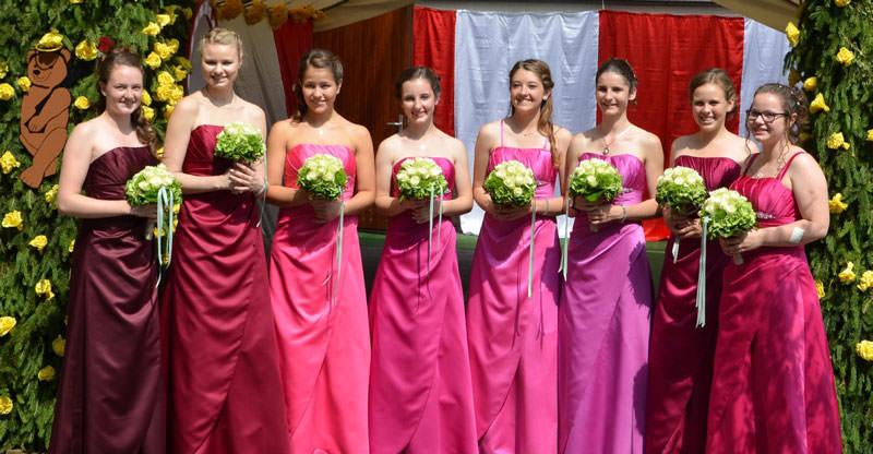 Ein Kleid in 8 verschiedenen Farbabstufungen und Größen (Hofdamen Büttgen)