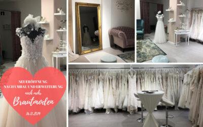 Erweiterung unseres Brautmodenbereichs – Eröffnung am 16.11.2019 – 10% Rabatt auf Brautkleider