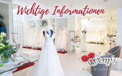 Wir haben geöffnet – Sale mit bis zu 50% auf Brautkleider und farbige Kleider für jeden Anlass